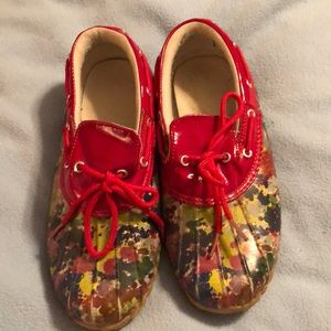 Red flowered duck shoes